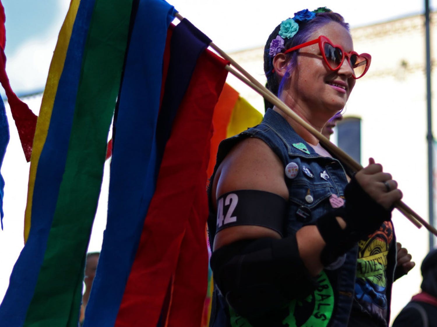Jackie Korpela, known as Haley's Vomit, a member of the Ocala Cannibals Roller Derby team, skates Saturday in the Gainesville Pride Parade that marched down University Avenue and ended at Bo Diddley Plaza. Correction: This caption has been updated to reflect the name of Korpela.