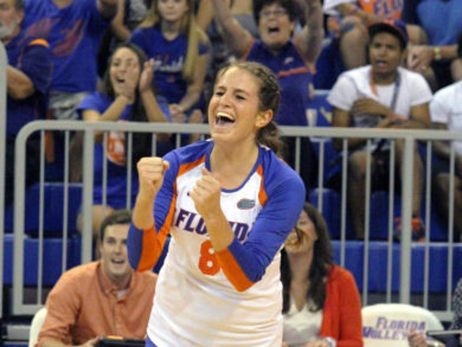 Taylor Brauneis reacts to a play during Florida's three-set victory against Florida State on Sept. 17 in the O'Connell Center.
