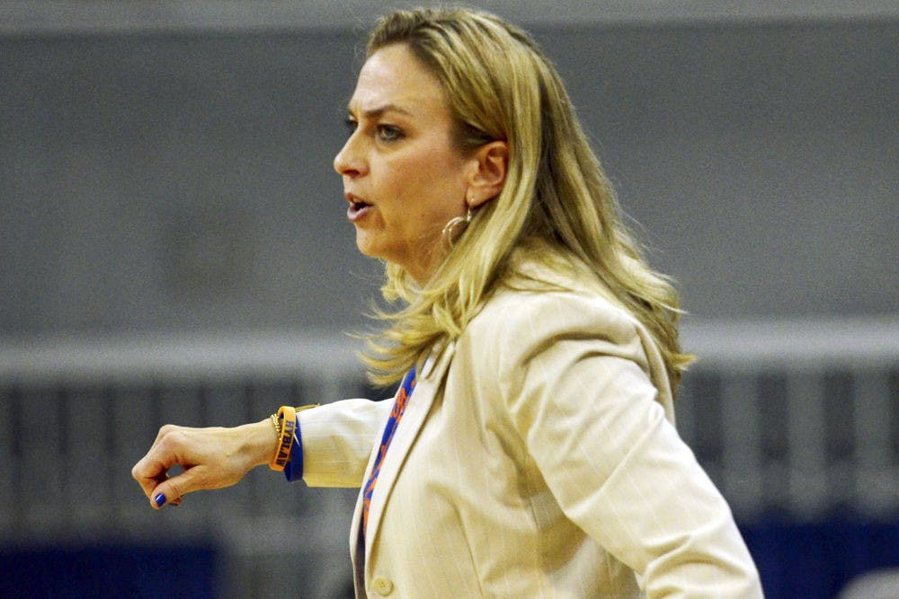 <p>Amanda Butler calls out a play during Florida's 64-56 loss to No. 6 Tennessee on Feb. 8 in the O'Connell Center.</p>
