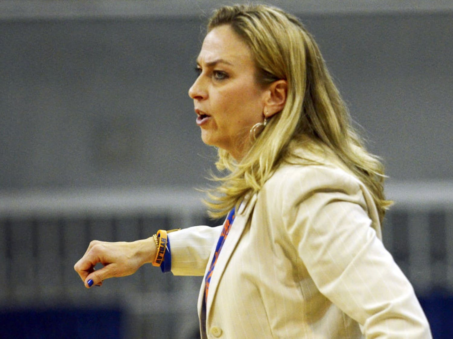 Amanda Butler calls out a play during Florida's 64-56 loss to No. 6 Tennessee on Feb. 8 in the O'Connell Center.