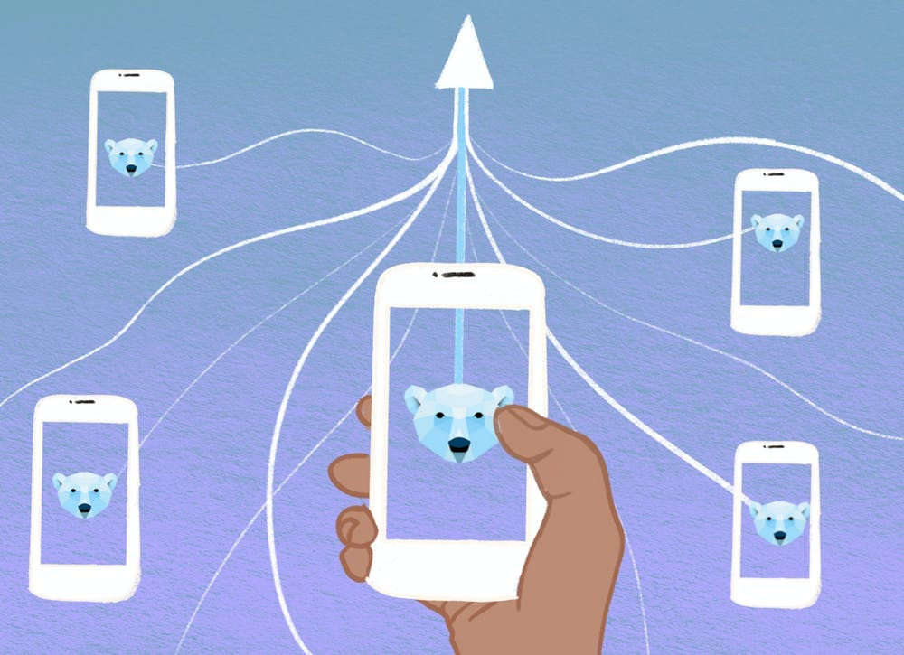 """<p><em>The polar baer app is """"the only app where you meet 100% of your matches,"""" according to co-founder Charles Heitmuller. [graphic by Aubrey Bocalan]</em></p>"""