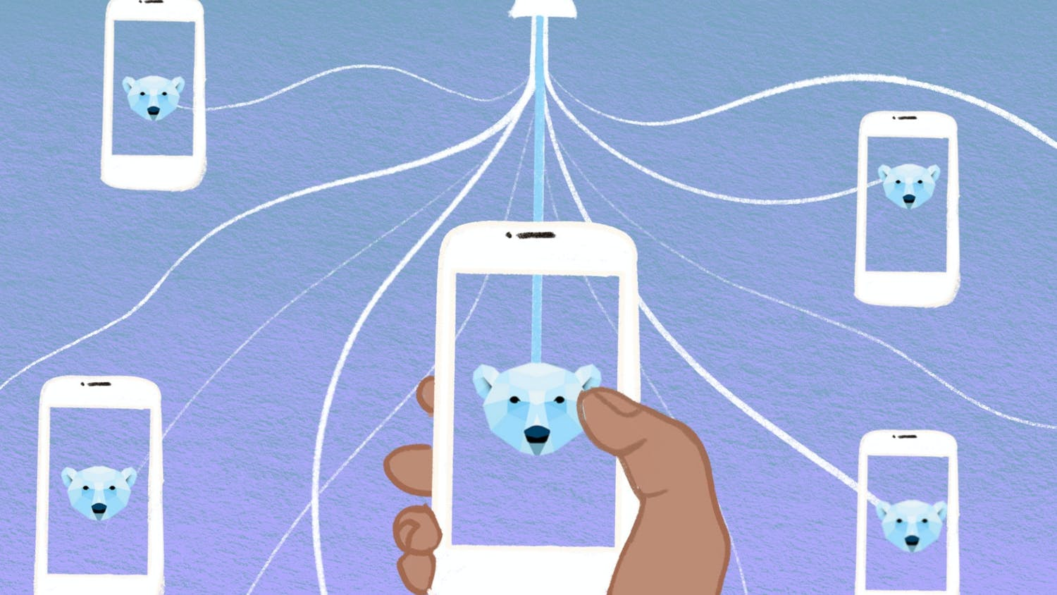 """The polar baer app is """"the only app where you meet 100% of your matches,"""" according to co-founder Charles Heitmuller. [graphic by Aubrey Bocalan]"""