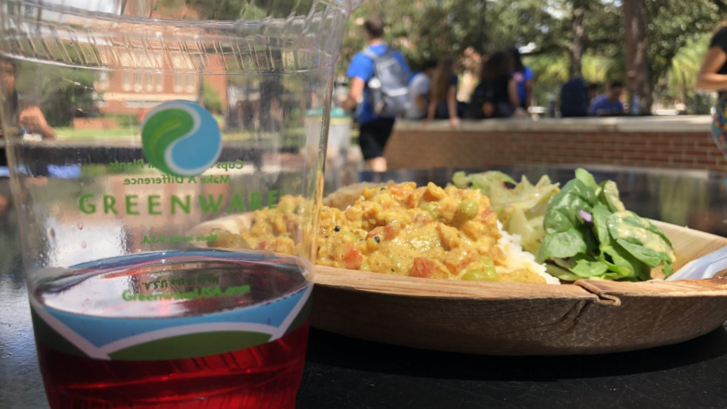Krishna Lunch is served using all compostable materials, including cups, plates, forks and napkins. It will serve tea in plastic compost able cups until its usual paper cups are back in stock.