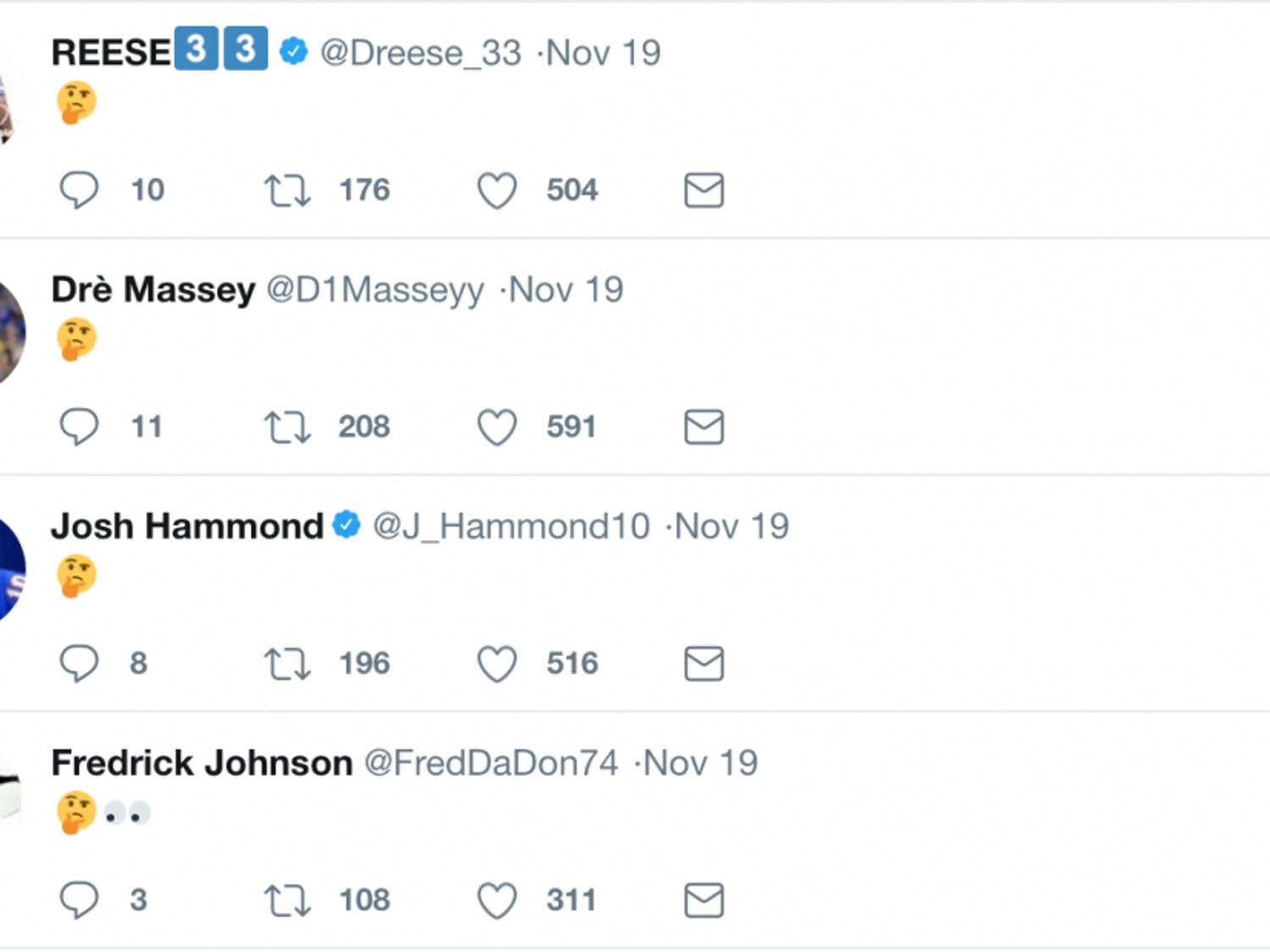 Over the course of a little bit more than an hour on Sunday night, over 30 members of UF's football team posted a barrage of cryptic, mysterious tweets featuring only the thinking face emoji.