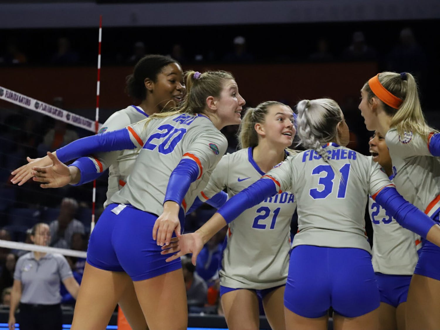 The Florida volleyball team huddles in a game against LSU in 2019. No. 5 Florida takes on No. 10 Minnesota Sunday at 2 p.m. in the O'Dome.