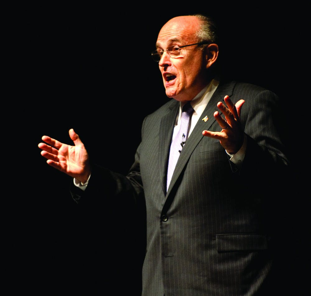 <p>Rudy Giuliani speaks at the Phillips Center for the Performing Arts on Thursday evening. The Accent Speakers' Bureau event was free and open to the public.</p>
