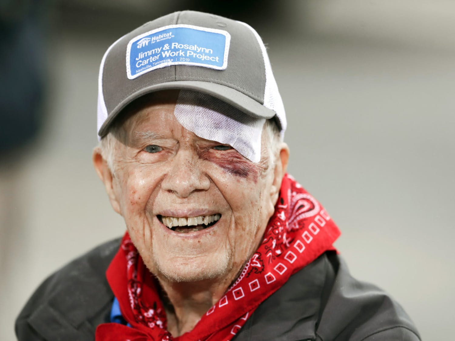Former President Jimmy Carter answers questions during a news conference at a Habitat for Humanity project Monday, Oct. 7, 2019, in Nashville, Tenn. Carter fell at home on Sunday, requiring over a dozen stitches, but he did not let his injuries keep him from participating in his 36th building project with the nonprofit Christian housing organization. He turned 95 last Tuesday, becoming the first U.S. president to reach that milestone. (AP Photo/Mark Humphrey)