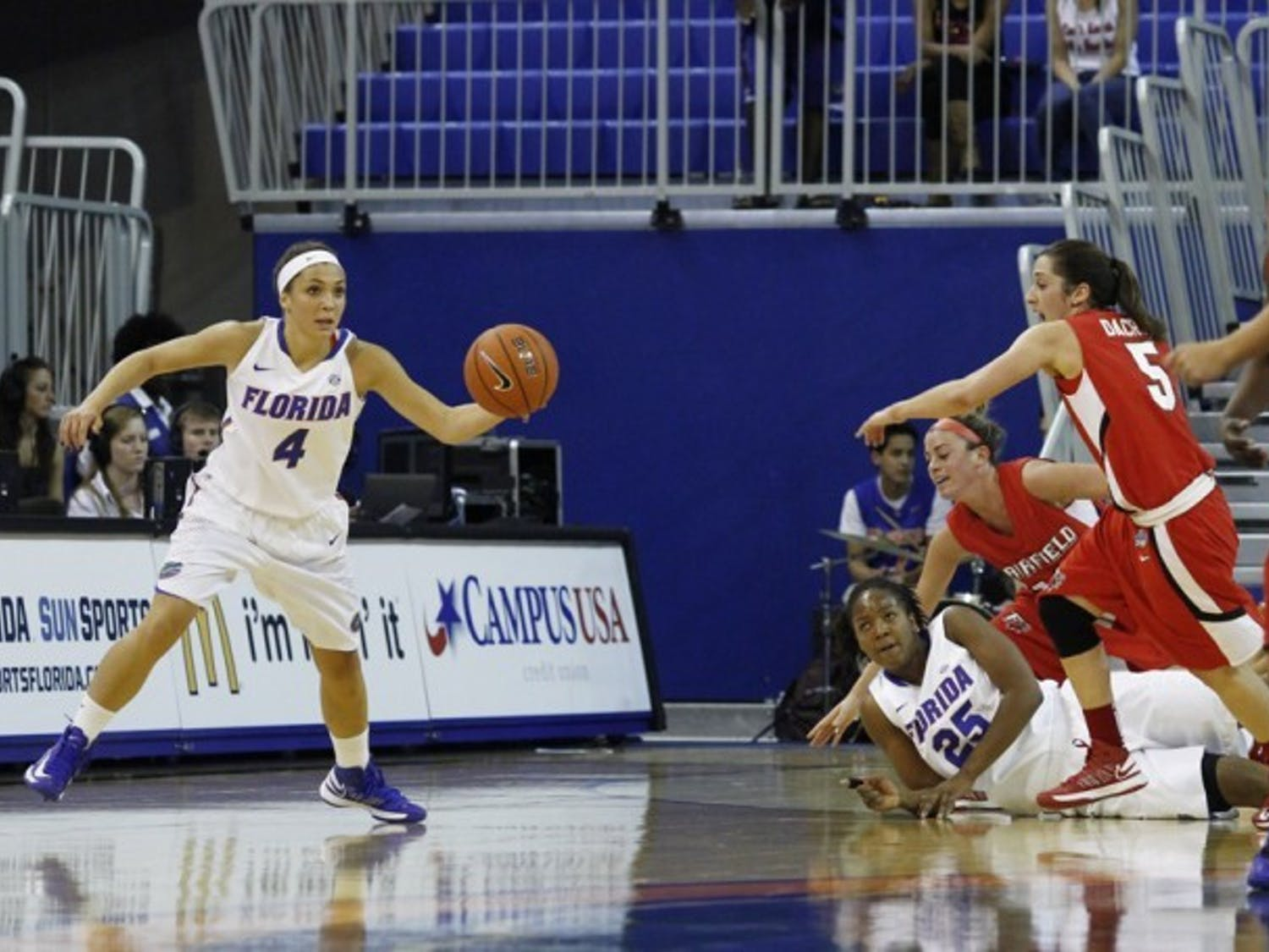 Redshirt freshman guard Carlie Needles (4) dribbles during Florida's 71-49 win against Fairfield on Nov. 9 in the O'Connell Center. Needles and the Gators have struggled to defend the three-point line.