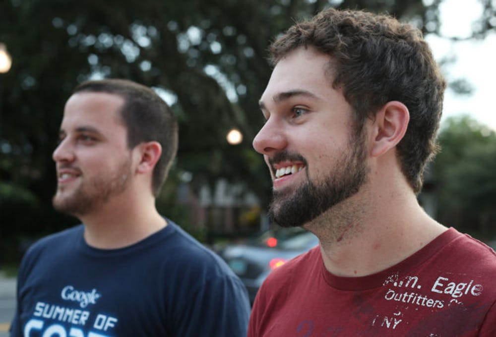<p>UF aerospace engineering seniors Lee Jones, 23, and Ernesto Aneiros, 23, both sport beards. A significant drop in razor sales has been reported as facial hair becomes more of a trend.</p>