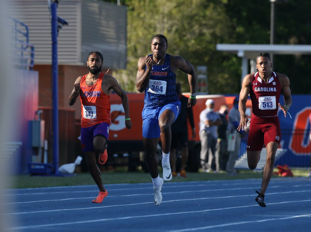 Florida's Joseph Fahnbulleh competes during the Pepsi Florida Relays on Friday, April 2, 2021 at Percy Beard Track at James G. Pressly Stadium in Gainesville, Fla. / UAA Communications photo by Chloe Hyde