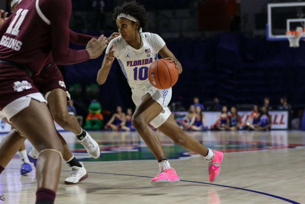 """<p dir=""""ltr""""><span>Guard Danielle Rainey paced the Gators offensively against the Wildcats. She had 20 points on 7-of-10 shooting in the Gators' 62-51 loss at Rupp Arena.</span></p><p><span></span></p>"""