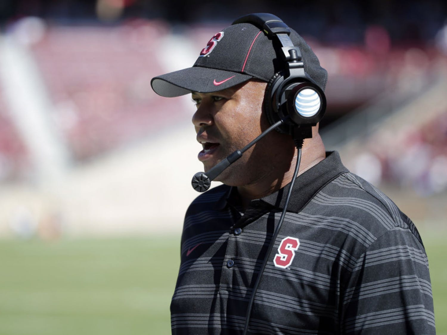 Stanford head coach David Shaw watches his team play UC Davis during the second half of an NCAA college football game on Saturday, Aug. 30, 2014, in Stanford, Calif.