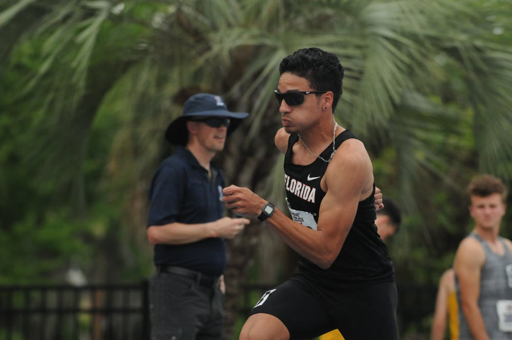 <p>Junior mid-distance runner Andres Arroyo competes in the 800 meters during the Florida Relays on April 1, 2016, at Percy Beard Track.</p>