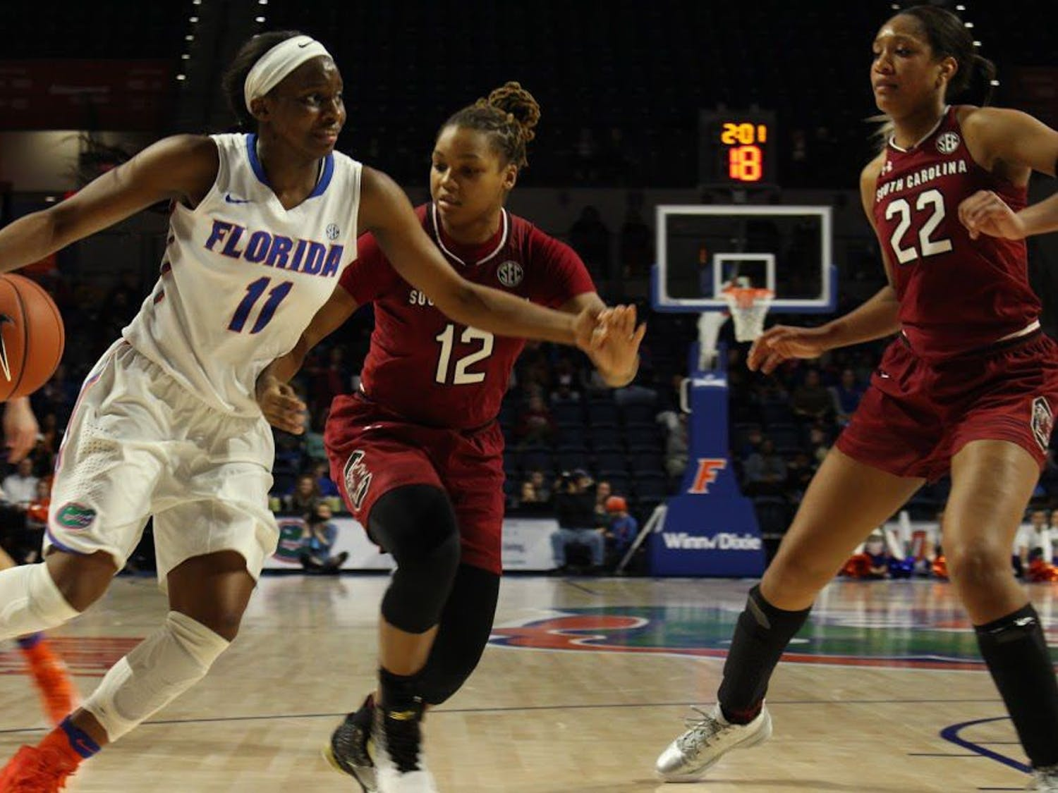 UF guard Dyandria Anderson dribbles the ball in Florida's 81-62 loss to South Carolina on Jan. 8, 2017, in the O'Connell Center.