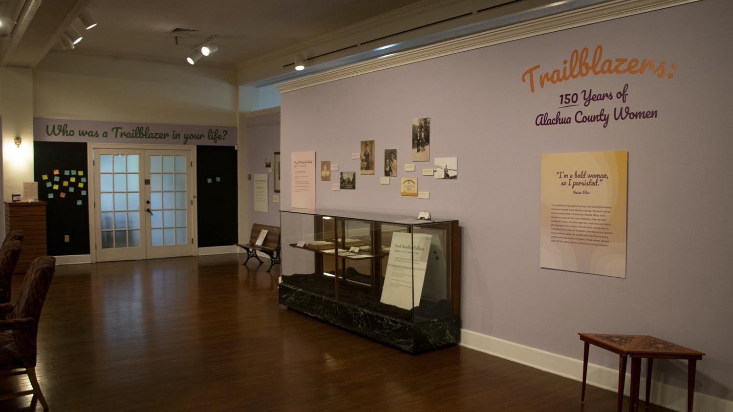 The current exhibit at Matheson History Museum, Trailblazers: 150 Years of Alachua County Women, is seen on Wednesday, Sept. 1, 2021. The exhibit was originally supposed to open on March 24, 2020, but the museum closed due to COVID-19 on March 17, 2020. The exhibit opened in April of this year instead.