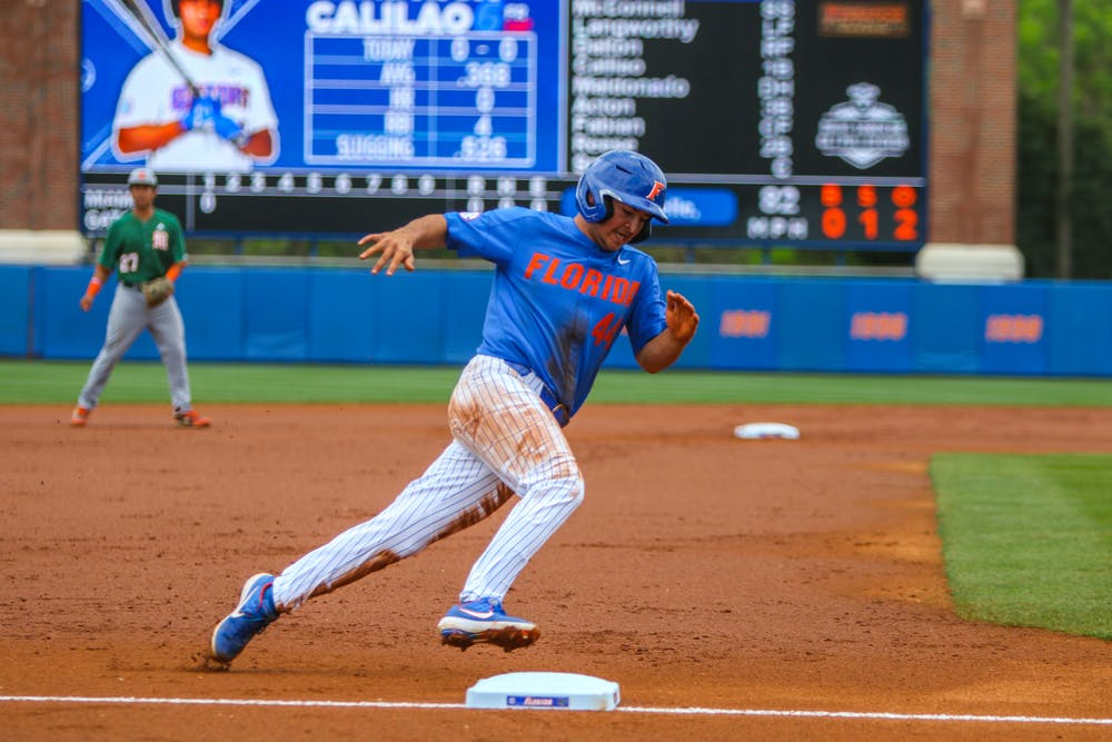 <p>Austing Langworthy went 1 for 5 with two RBI in the win over FAU.</p>