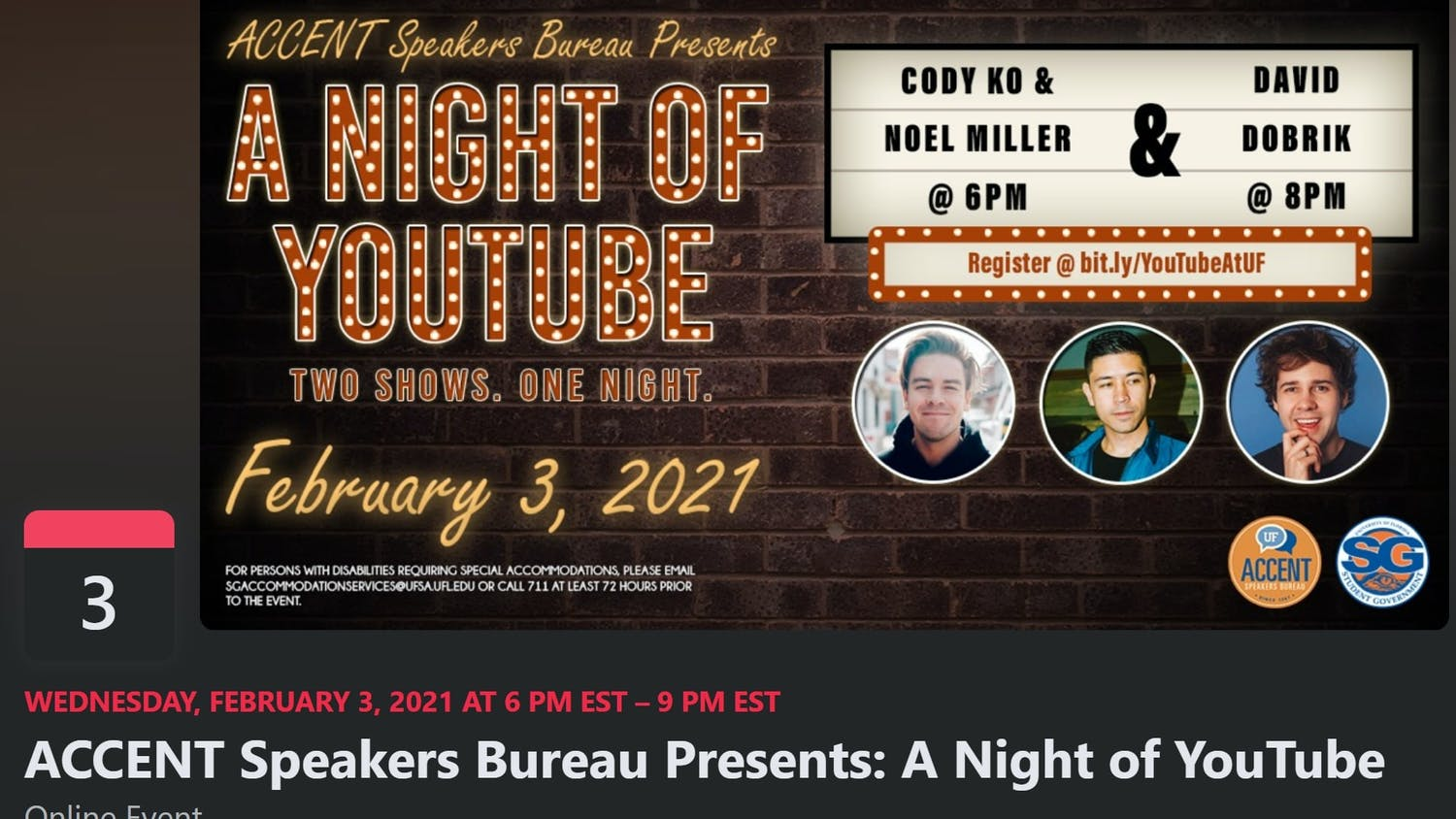 "Screenshot of the ""A Night of YouTube"" Accent speaker event on Facebook`"