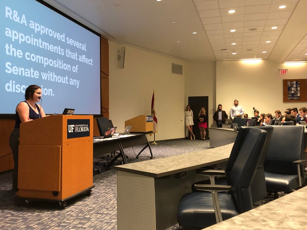 <p>Ashley Grabowski explains to the Senate that Inspire Party will be objecting to several of the Replacement and Agenda Committee's nominations for Summer replacements seats because they were voted on without being properly discussed.</p>