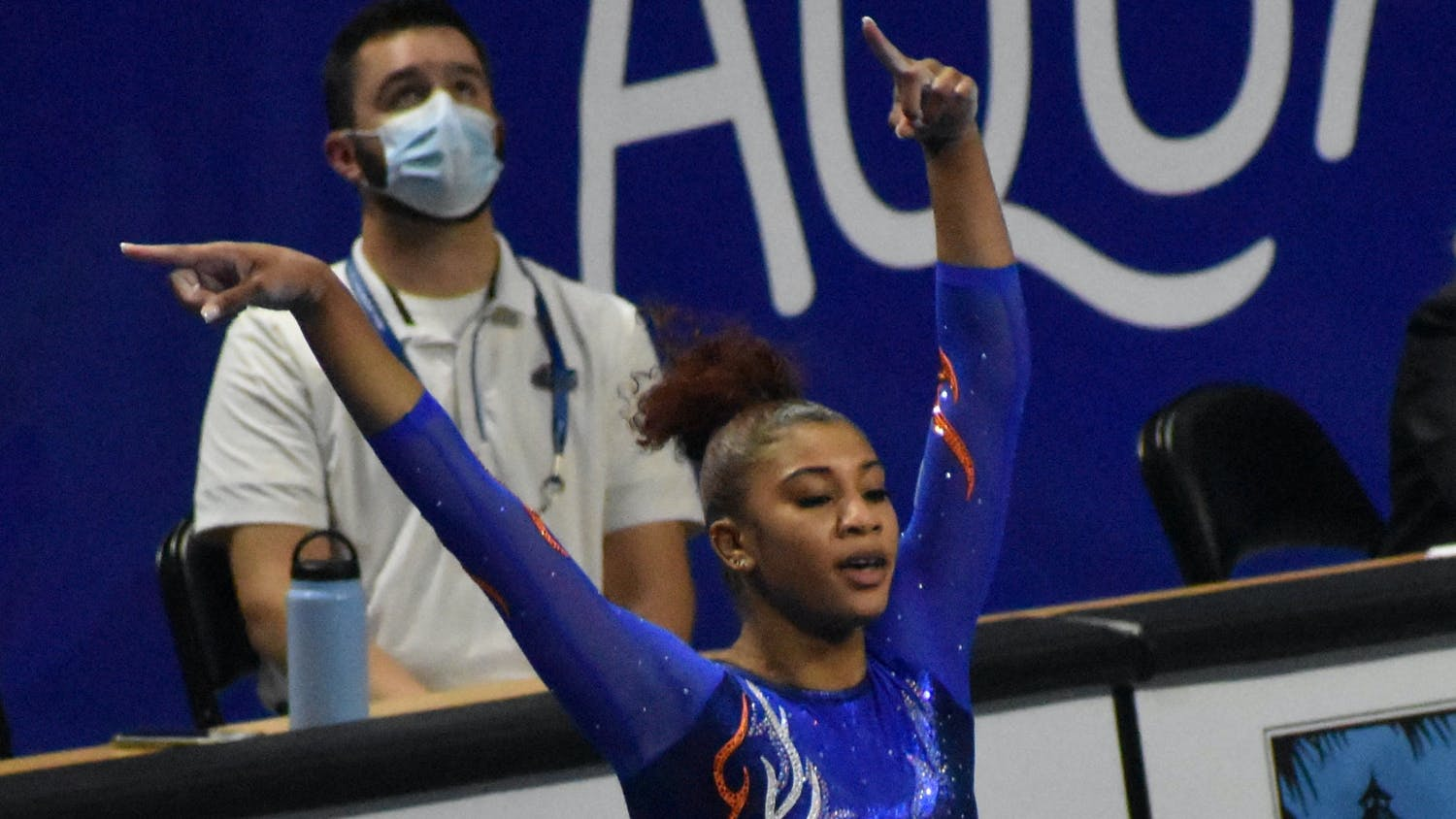 Nya Reed's 9.95 punched her team's ticket to the NCAA Semifinals. Photo from UF-Mizzou meet Jan. 29.