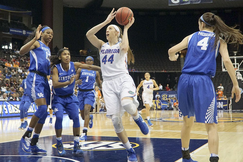<p>Haley Lorenzen attempts a layup during Florida's 92-69 loss to Kentucky in the Southeastern Conference Tournament on March 4, 2016, at Jacksonville Veterans Memorial Arena.</p>