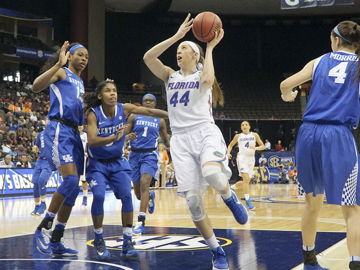 Haley Lorenzen attempts a layup during Florida's 92-69 loss to Kentucky in the Southeastern Conference Tournament on March 4, 2016, at Jacksonville Veterans Memorial Arena.