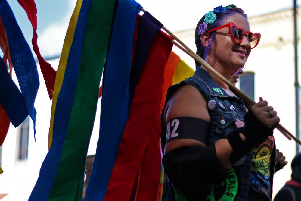 "<p dir=""ltr"">Jackie Korpela, known as Haley's Vomit, a member of the Ocala Cannibals Roller Derby team, skates Saturday in the Gainesville Pride Parade that marched down University Avenue and ended at Bo Diddley Plaza.</p><p dir=""ltr""><em>Correction: This caption has been updated to reflect the name of Korpela. </em></p>"