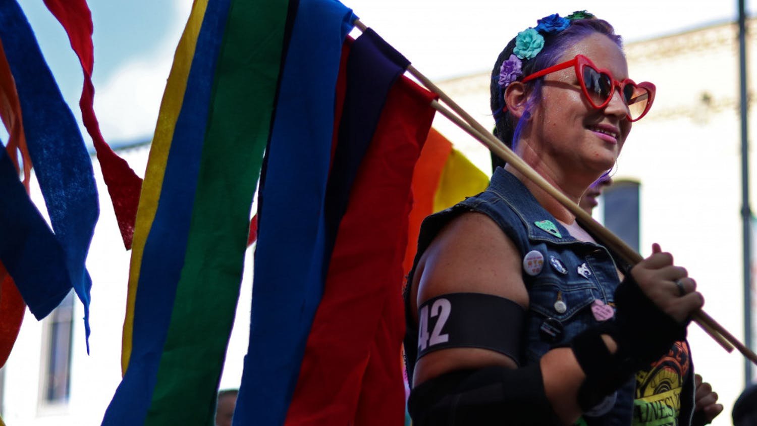 Jackie Korpela, known as Haley's Vomit, a member of the Ocala Cannibals Roller Derby team, skates Saturday in the Gainesville Pride Parade that marched down University Avenue and ended at Bo Diddley Plaza.Correction: This caption has been updated to reflect the name of Korpela.