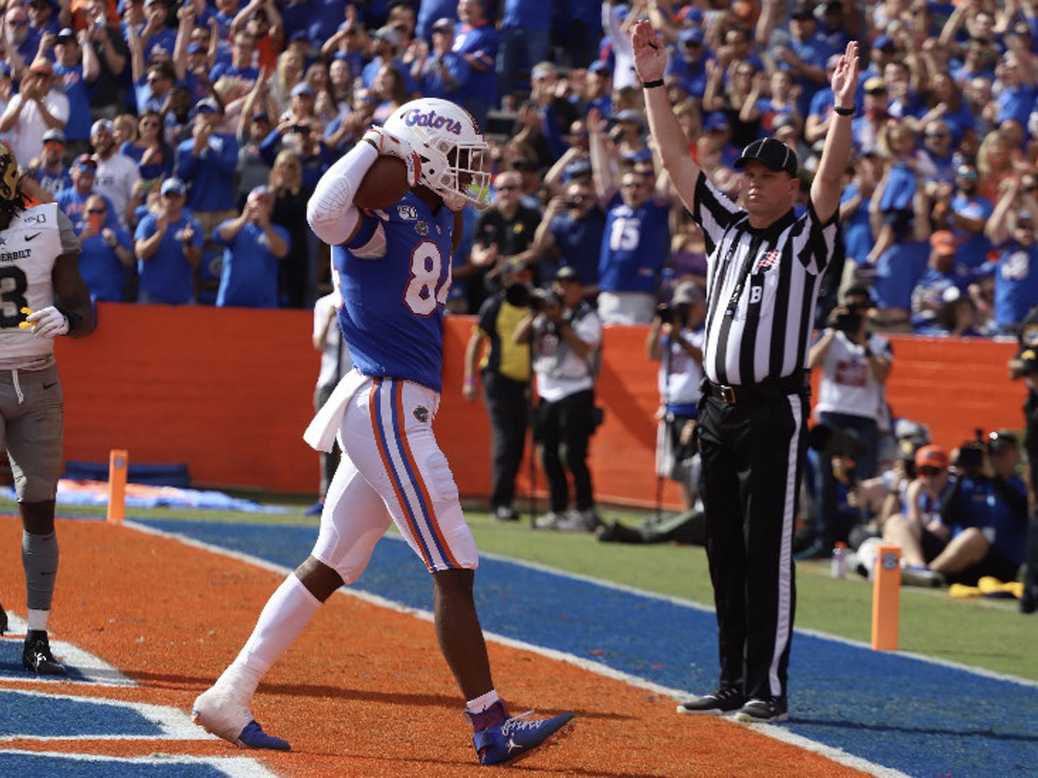 Florida tight end Kyle Pitts celebrates into the endzone on 11/30/19 against Vanderbilt. Pitts scored a touchdown and hauled in 139 receiving yards Saturday night.