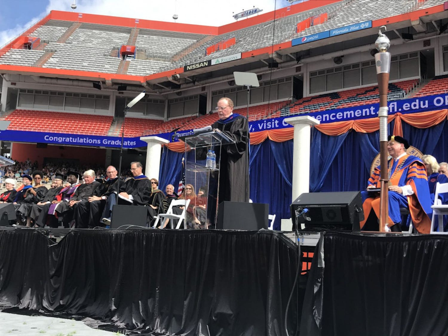 "Bestselling author James Patterson speaks to an estimated 2,500 students at UF's university-wide commencement on Saturday. ""If you only take one thing away from today, please take this: Passion is the key reason for choosing a career,"" Patterson said."