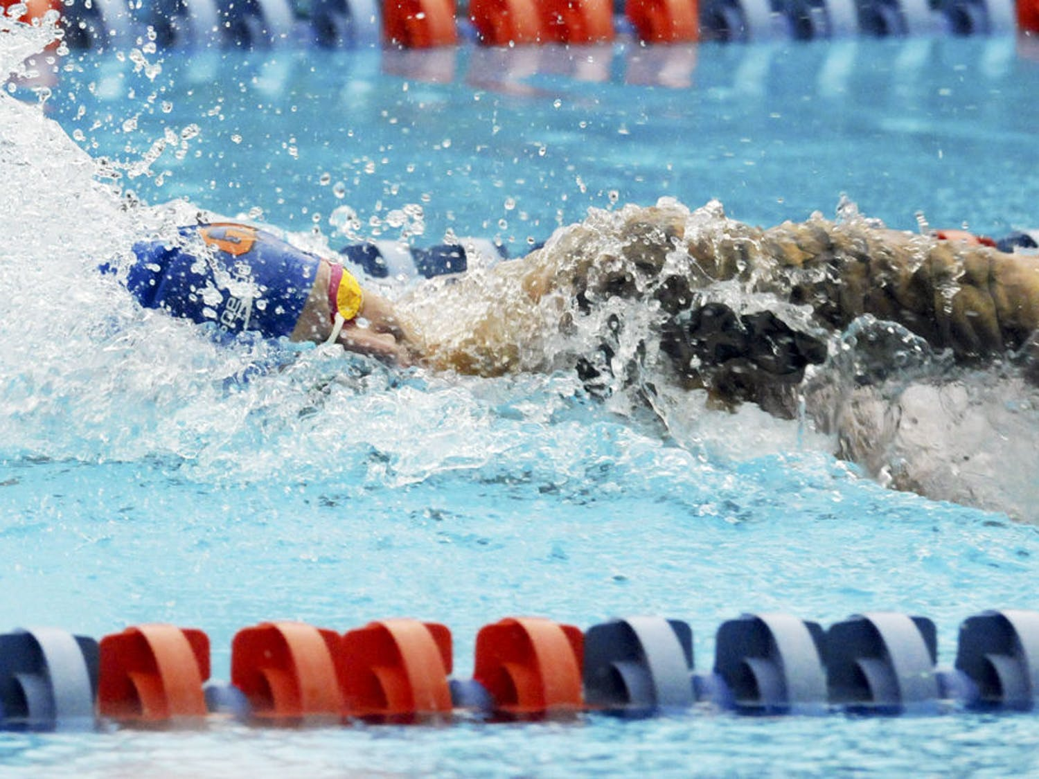 Caeleb Dressel races in the 400 meter freestyle relay during Florida's meet against Auburn on Jan. 23, 2016, in the O'Connell Center.