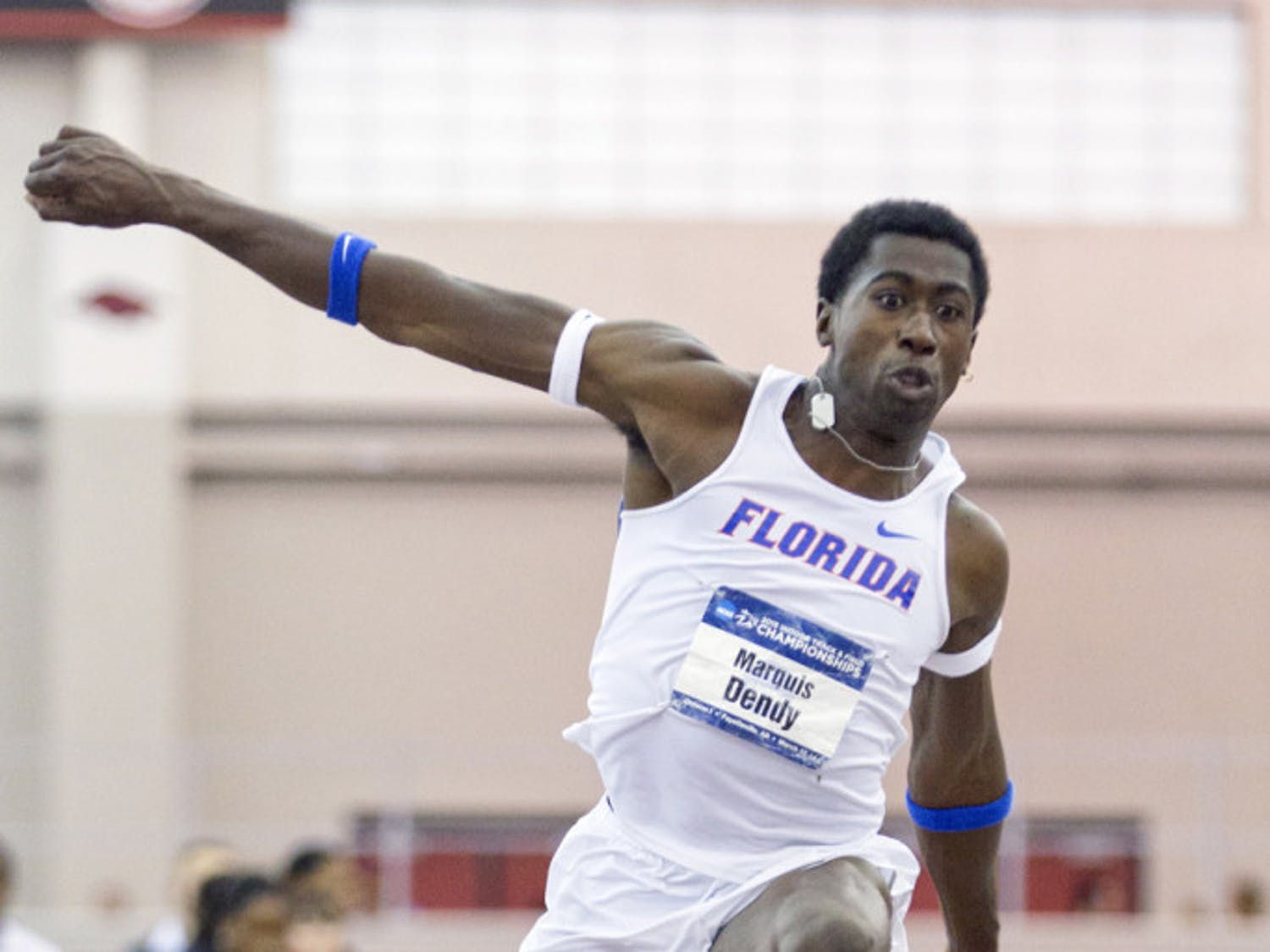 Marquis Dendy competes in the triple jump during the 2015 NCAA Indoor Championships on March 14 in Fayetteville, Arkansas.