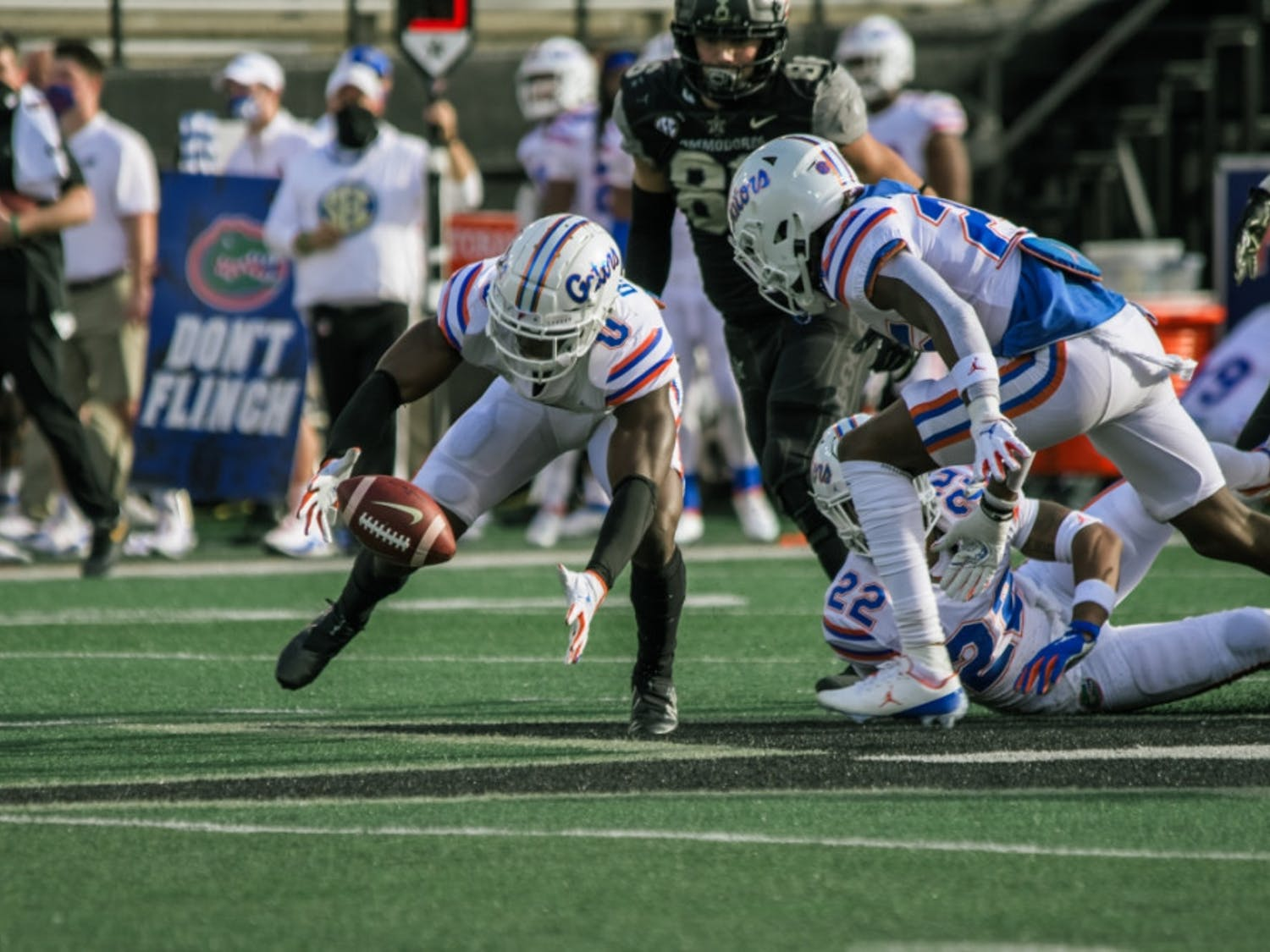 Gators safety Trey Dean III reaches for the football in Florida's game against Vanderbilt. The Gators hung 38 points on the Commodores in Nashville, Tennessee, on Saturday, winning their sixth game of the season.