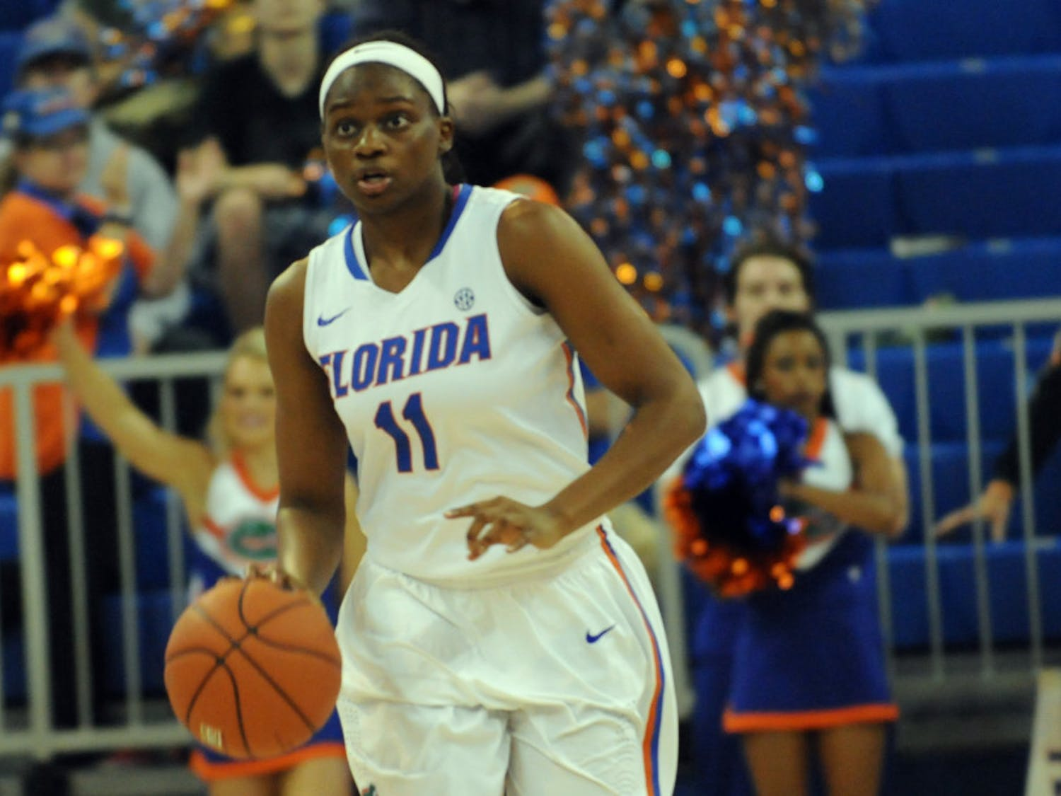 UF guard Dyandria Anderson drives down the court during Florida's win against Savannah State.