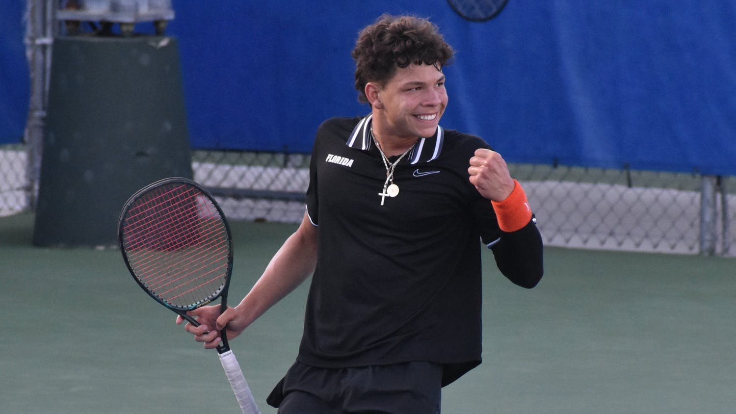 Ben Shelton celebrates during a match against Texas Christian University March 27.