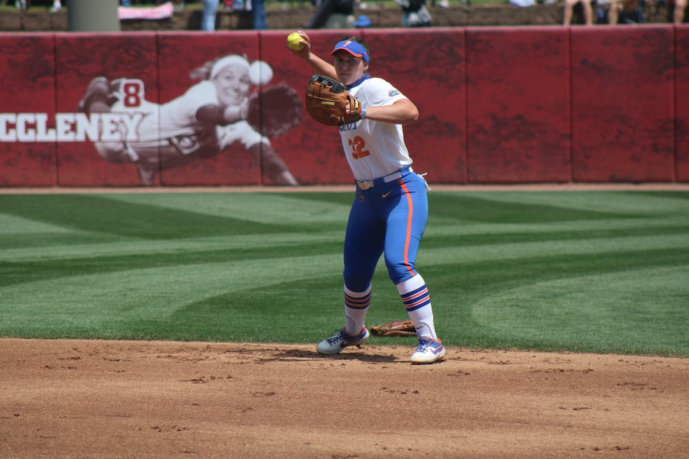 First baseman Kendyl Lindaman warms up on April 17 against Alabama. The Gators are set for a huge battle with the Missouri Tigers this weekend.
