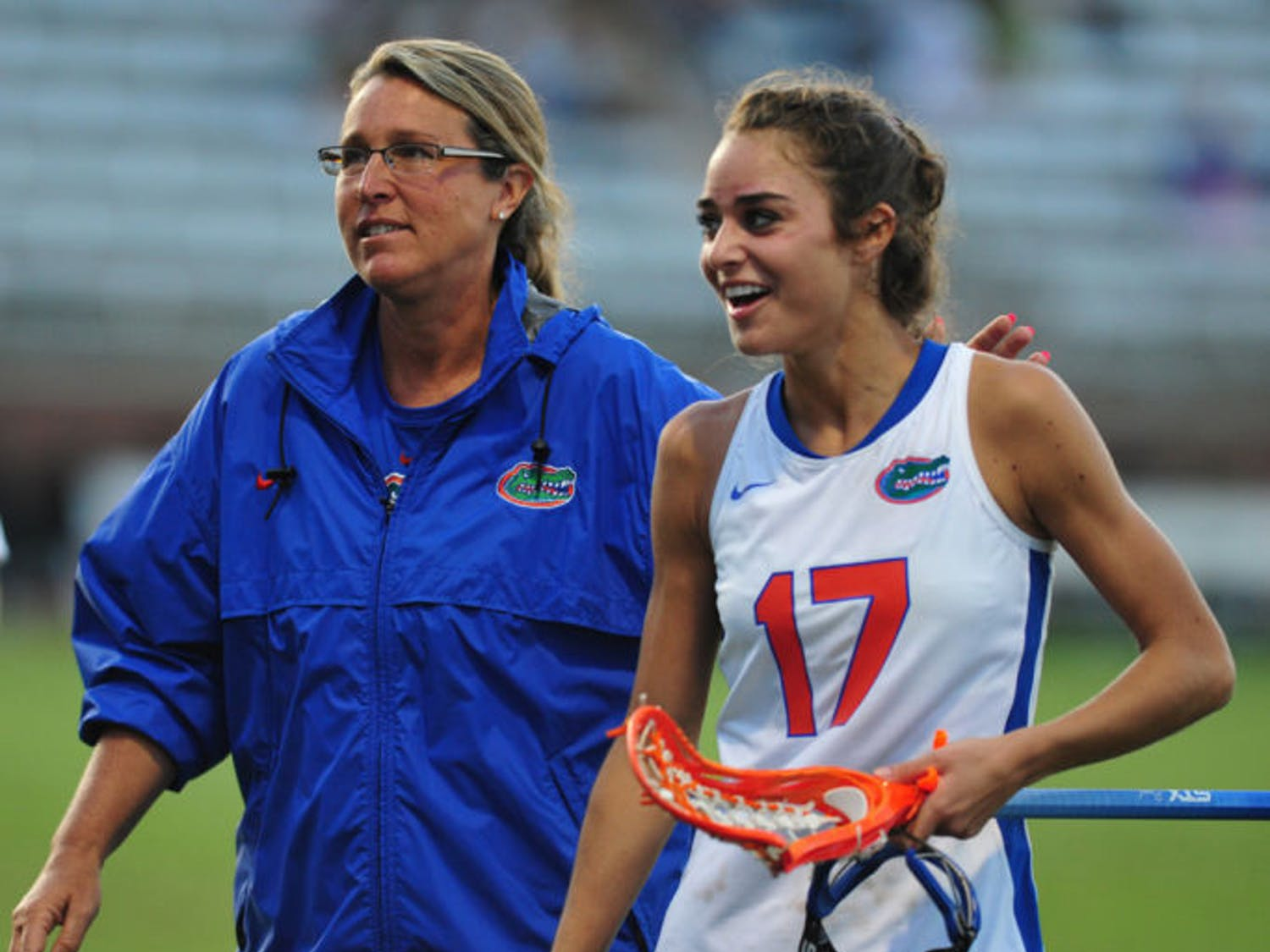"""Florida lacrosse coach Amanda O'Leary (left) was pleased with the way her bench performed in its 18-6 victory over Marquette on Saturday. """"It is...good to see some players who typically don't get in and see what they can do,"""" O'Leary said."""
