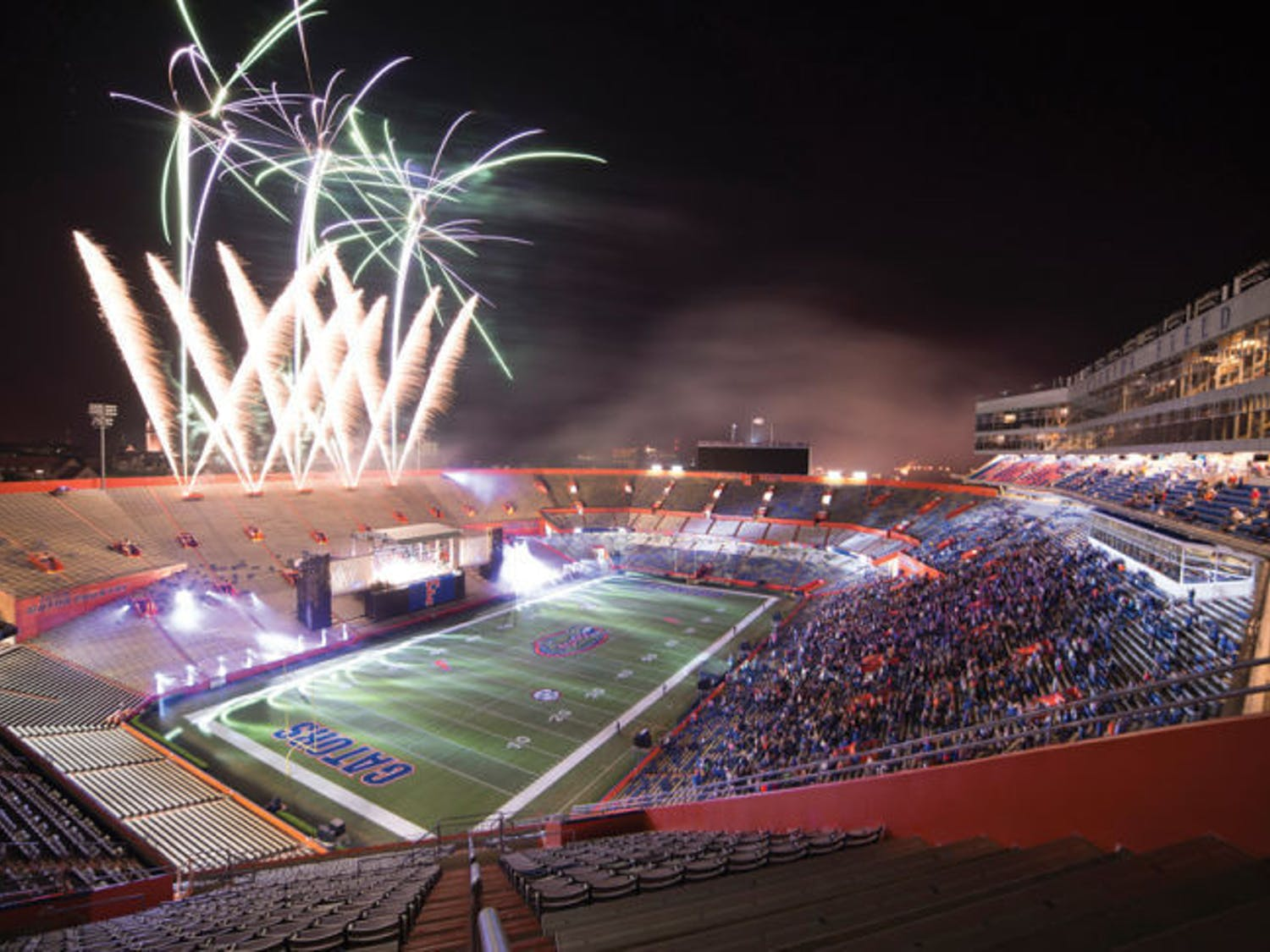 The fireworks finale over Ben Hill Griffin Stadium marks the end of the 90th annual Gator Growl during UF Homecoming Friday evening. The Fray, Sister Hazel and the UF Fightin' Gator Marching Band performed for students, alumni and guests.