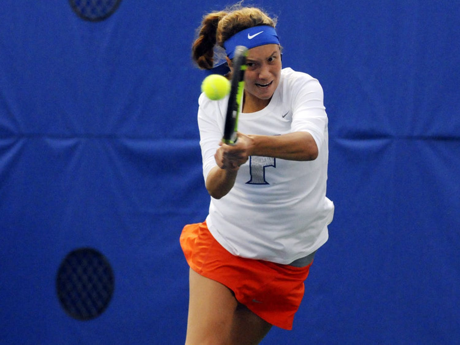 UF's Anna Danilina returns a ball during Florida's 6-1 win over USF on Jan. 27, 2016, at the Ring Tennis Complex.
