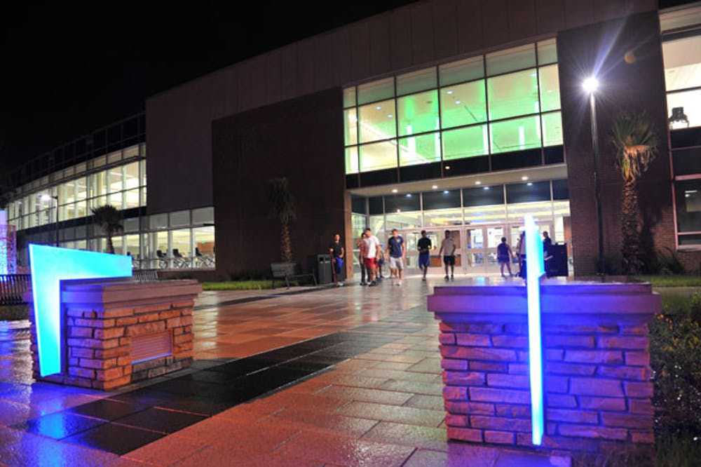 <p>Students exit UF&#x27;s Southwest Rec Center on a Sunday night.</p>
