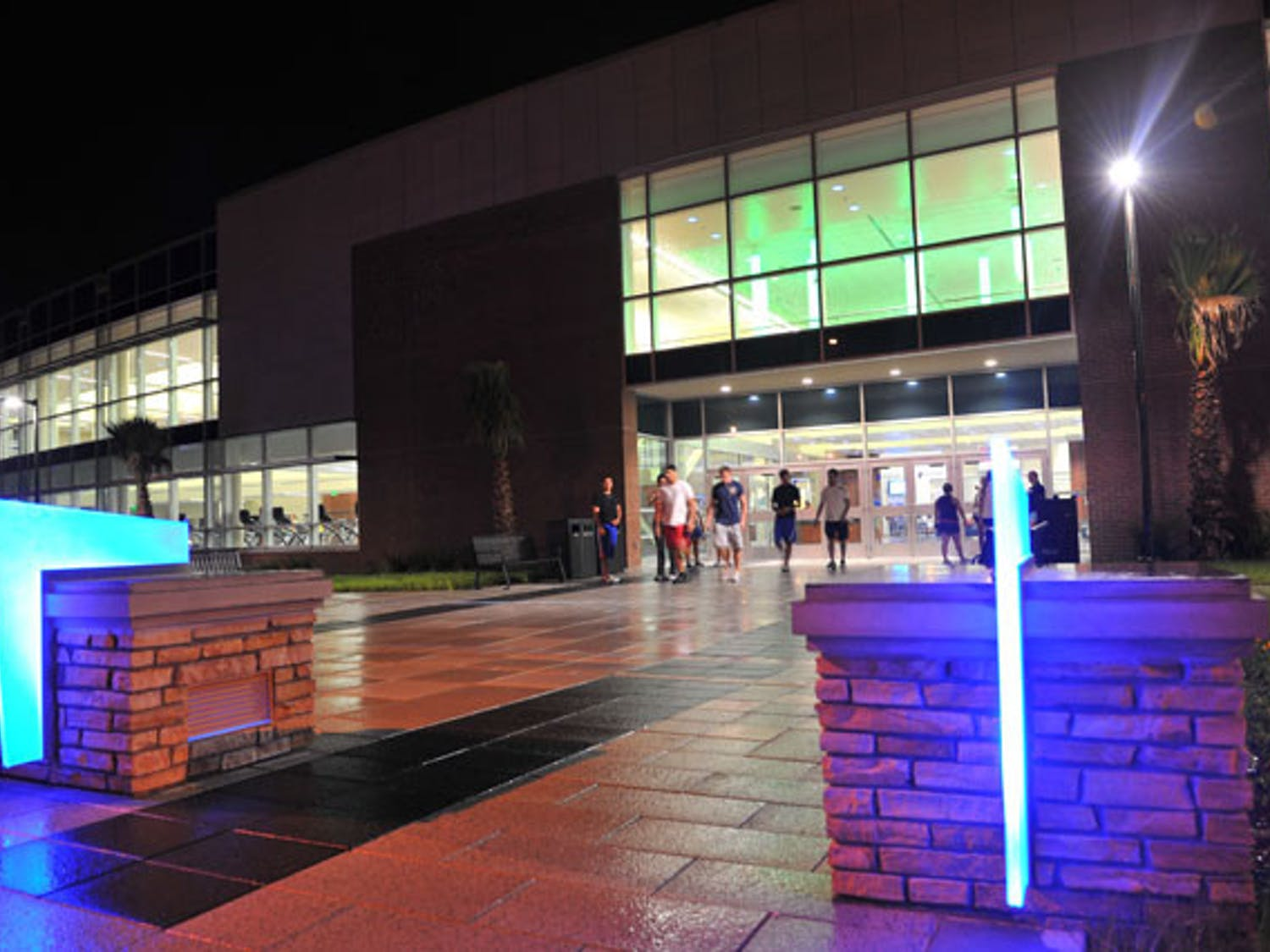 Students exit UF's Southwest Rec Center on a Sunday night.