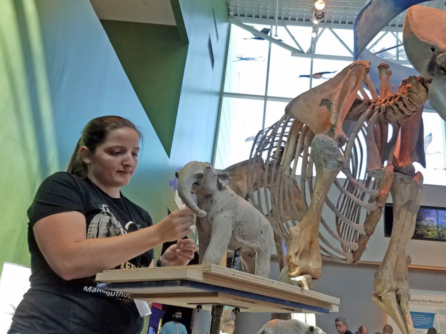 Ariel Bowman, 28, works on a sculpture of a mastodon at the National Fossil Day event at the Florida Museum of Natural History on Saturday. Bowman is a ceramics graduate student who works on sculpting prehistoric creatures.