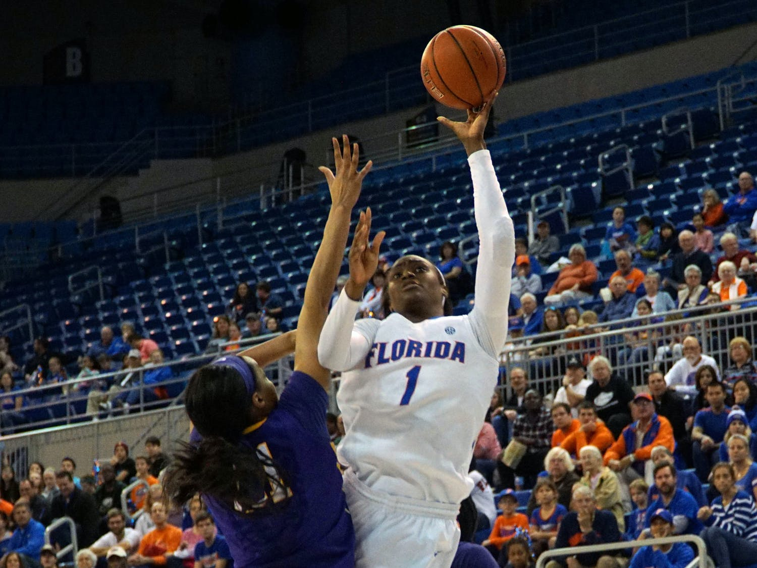 UF forward Ronni Williams goes for a layup during Florida's 53-45 win against LSU on Jan. 17, 2016, in the O'Connell Center.