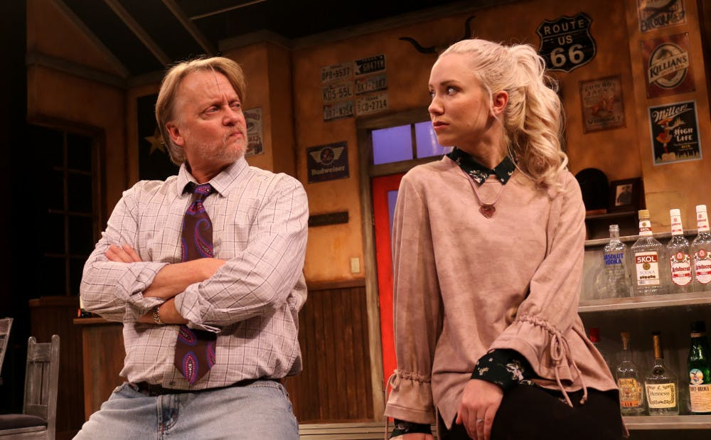 """<p>Bryan Mercer and Marissa Toogood play Walter and Marley in the Hippodrome's""""Lone Star Spirits."""" The two characters have a strained father-daughter relationship, which is one of the keyfocal points of the play.</p><div class=""""yj6qo""""></div><div class=""""adL""""></div>"""