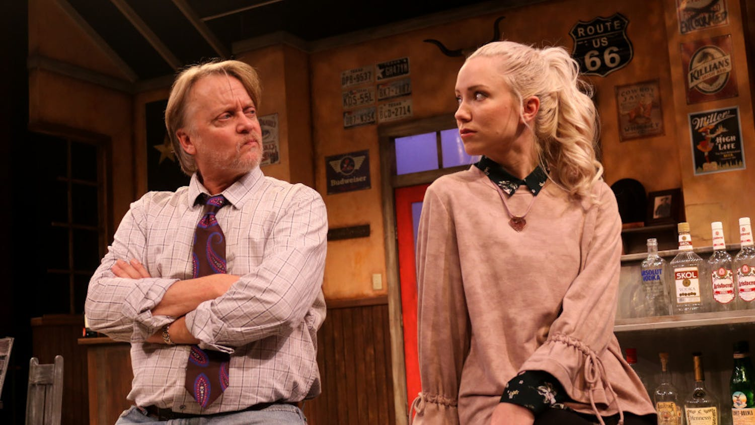 "Bryan Mercer and Marissa Toogood play Walter and Marley in the Hippodrome's ""Lone Star Spirits."" The two characters have a strained father-daughter relationship, which is one of the key focal points of the play."