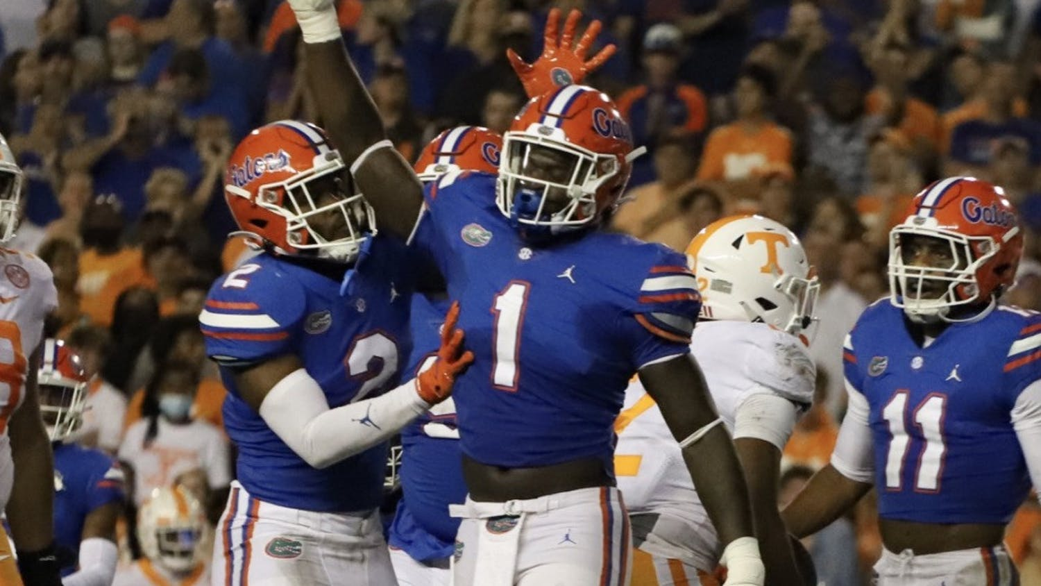 Florida's Brenton Cox celebrates during a play in a game against Tennessee on Sept. 18.