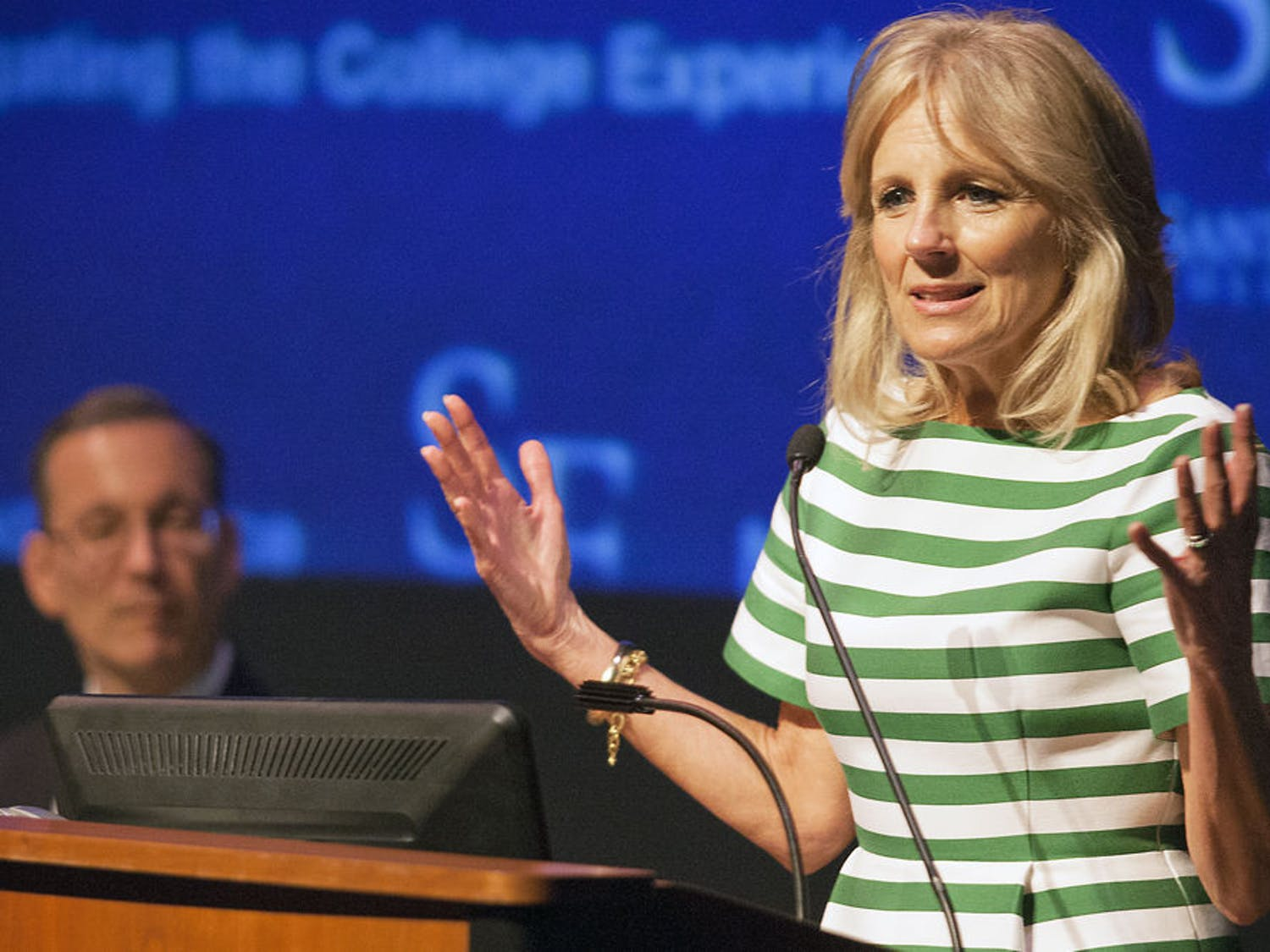 Second Lady Jill Biden speaks to Santa Fe students and faculty at a roundtable discussion in Santa Fe College on Monday morning. Under Secretary of Education Ted Mitchell also attended the discussion, which focused on learning how Santa Fe helps students graduate or transfer to four-year colleges.