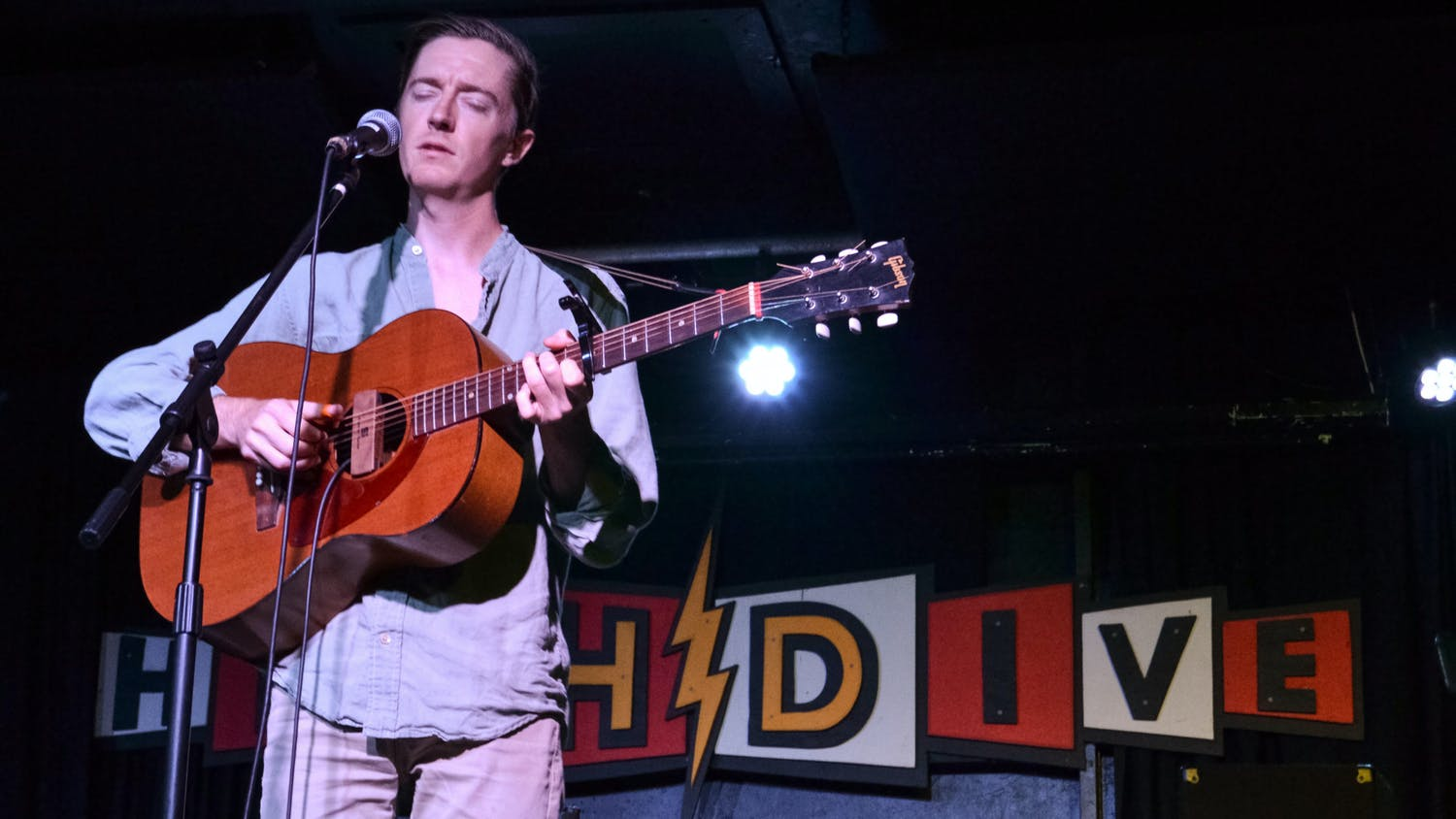 Quincy Allen-Flint performs an acoustic set at the High Dive, located at 210 SW 2nd Ave., during the Original Gainesville Food Truck Rally on June 5, 2021.