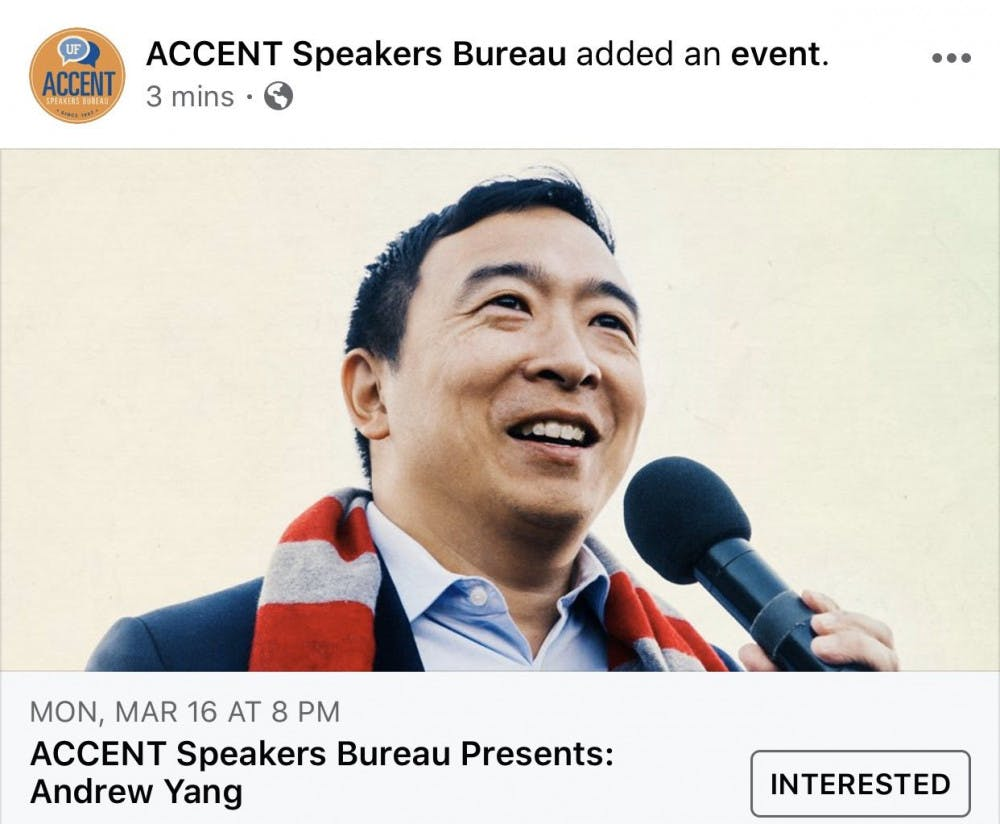 <p>The Accent Speakers Bureau announced Monday that Andrew Yang will speak at UF March 16. </p>