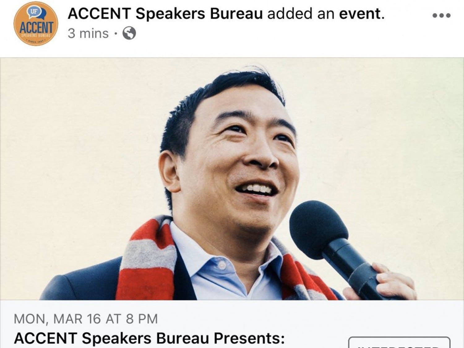 The Accent Speakers Bureau announced Monday that Andrew Yang will speak at UF March 16.