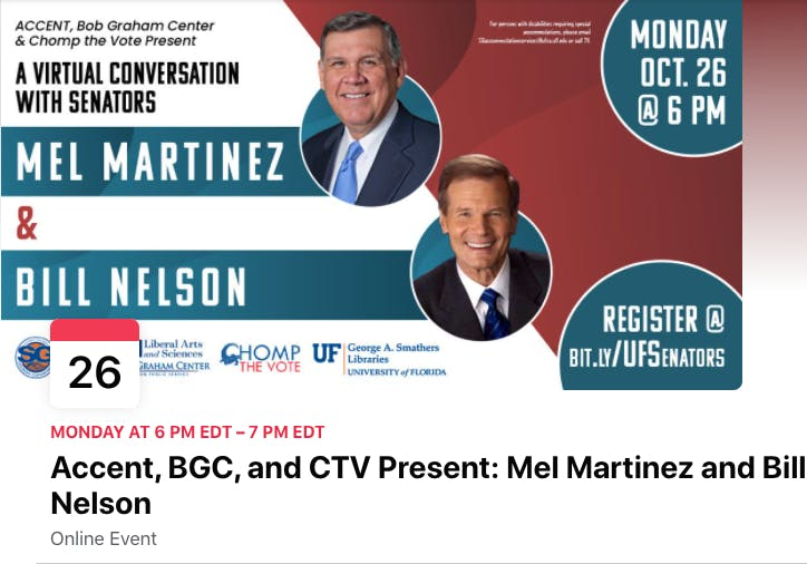 Screenshot of the Facebook event page for Nelson and Martinez discussion